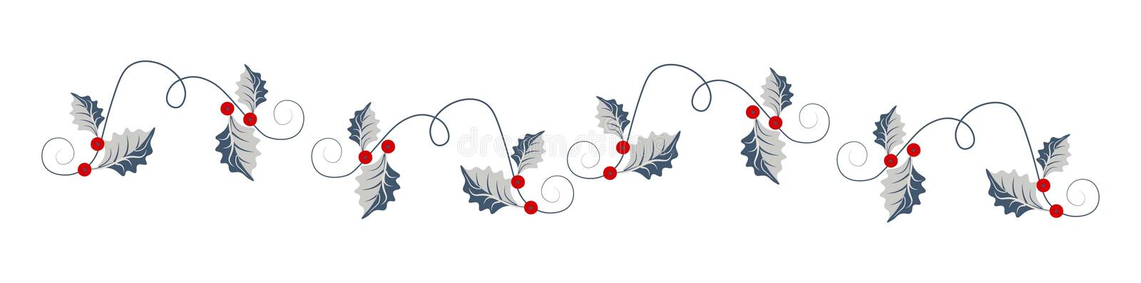 Christmas web heading with holy leaves royalty free illustration