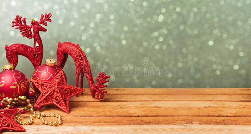 Christmas website banner background with decorations on wooden table royalty free stock photography