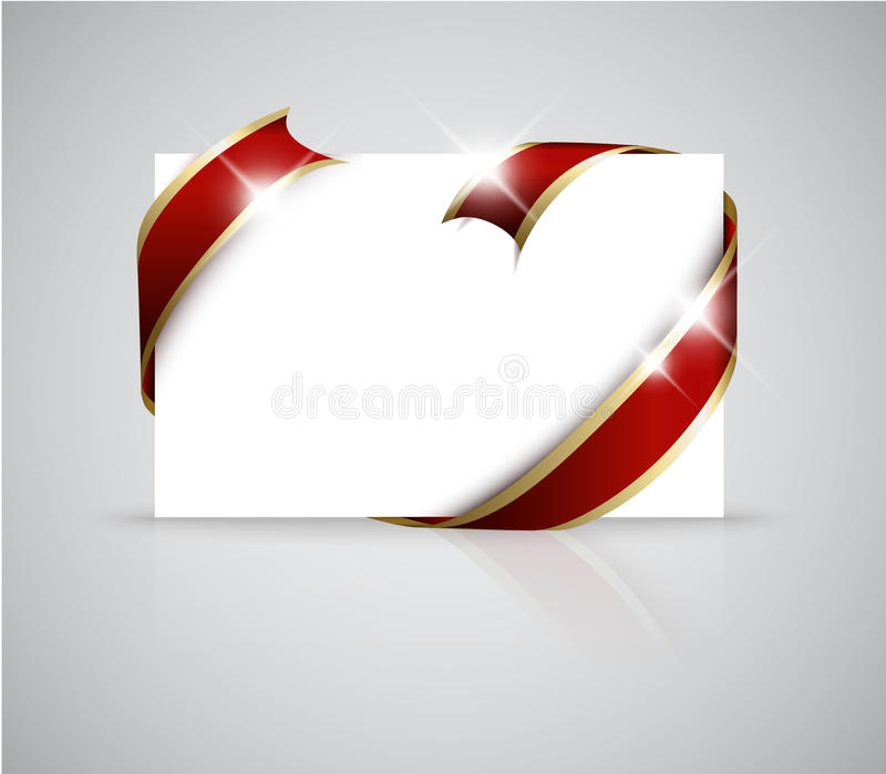 Christmas or wedding card. Golden ribbon around blank white paper, where you should write your text stock illustration