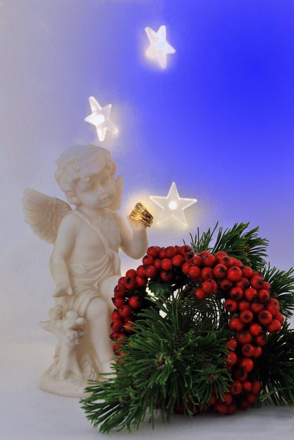 Christmas Wedding Invitation/rings royalty free stock photo
