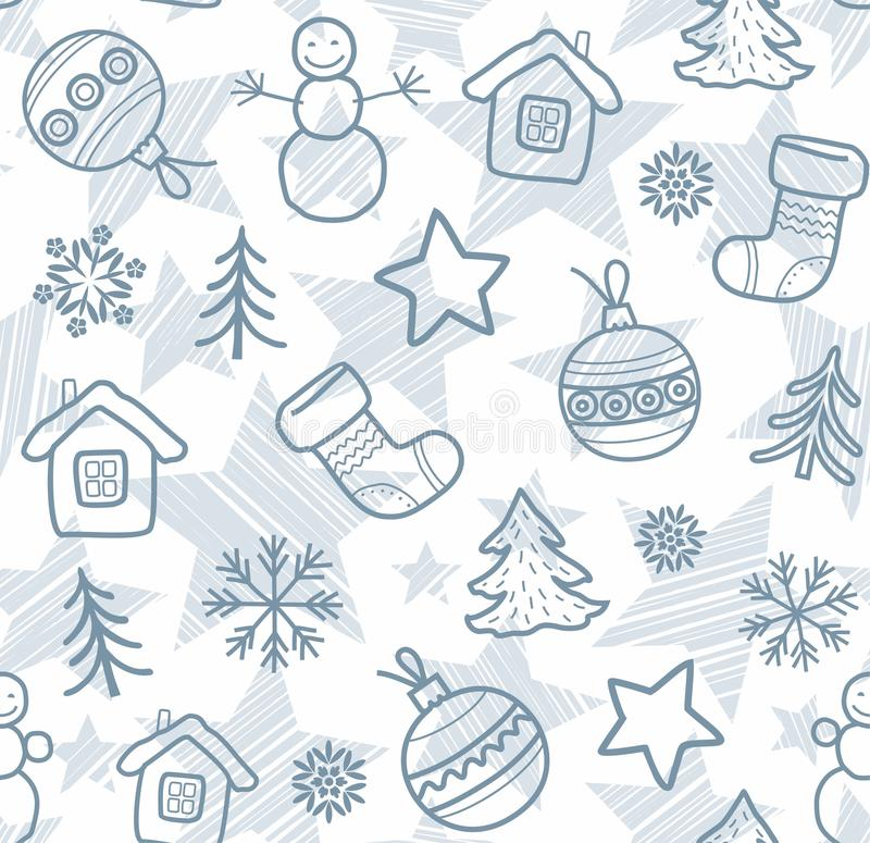 christmas white background grey outline drawings seamless vector