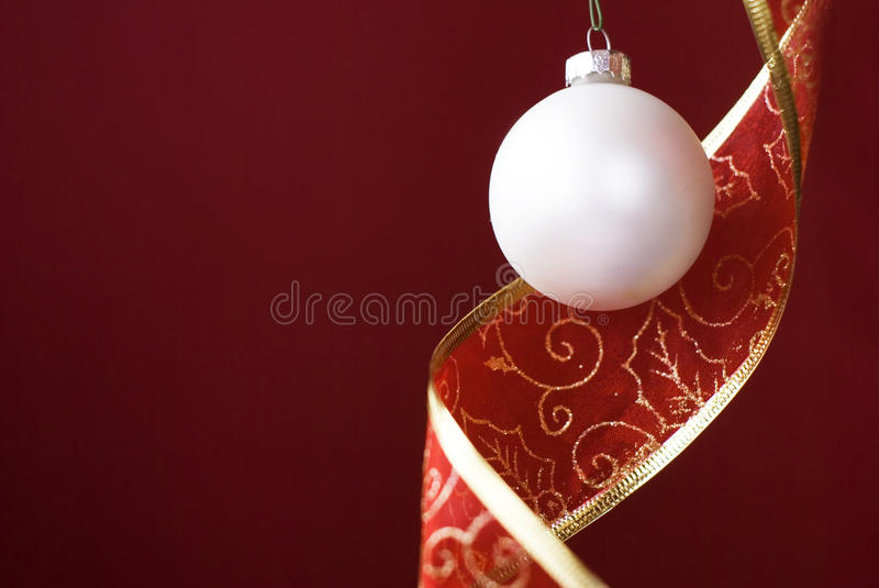 Christmas white ball with decoration band royalty free stock photos
