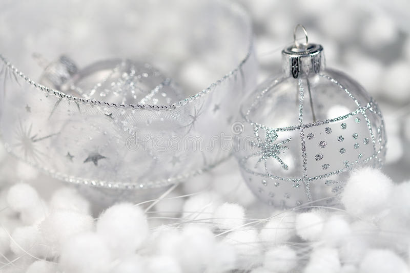 Christmas white decorations stock photo