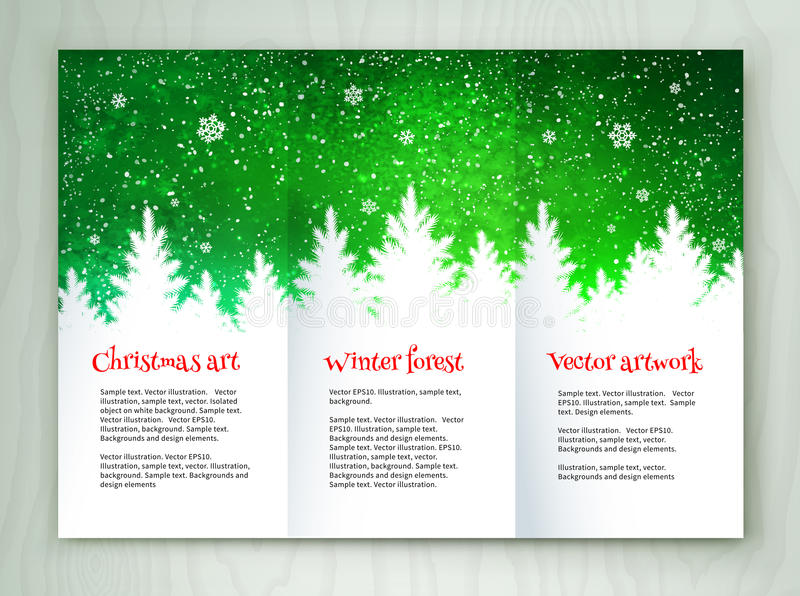 Christmas white and green leaflet design royalty free illustration