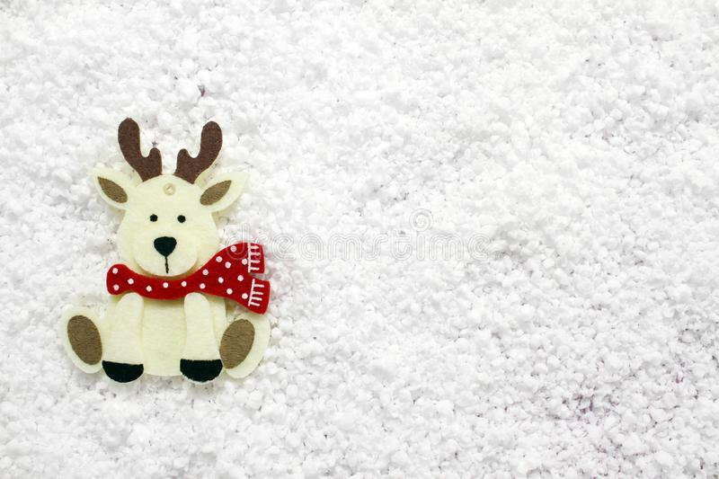 Christmas white reindeer decoration on white. New Year greetings background.  stock image