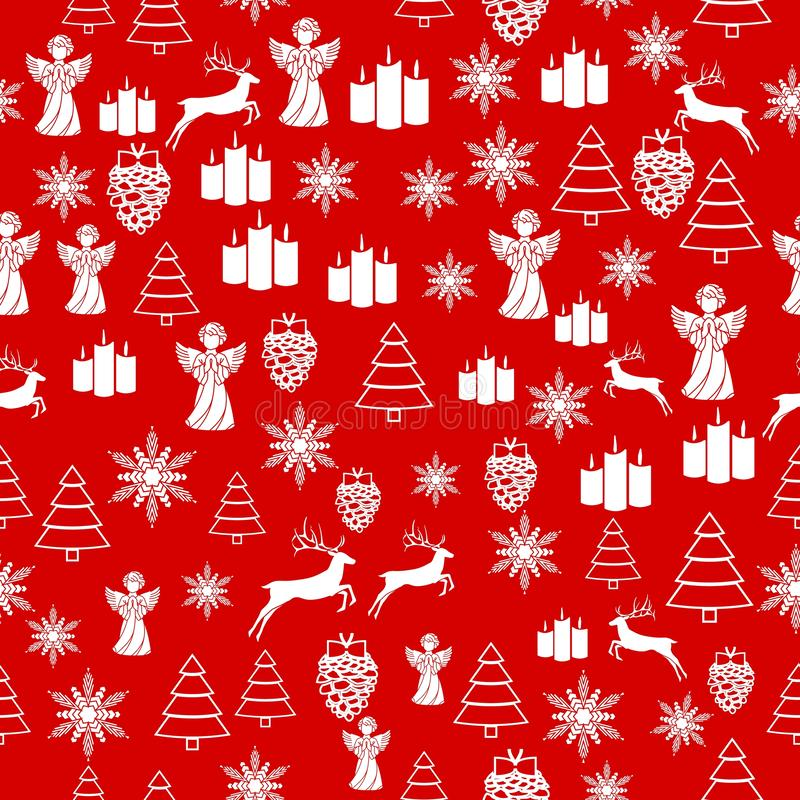 Christmas white snowflake on abstract red bakcground vector illustration eps10. Wrapping paper. Christmas white snowflake on abstract red bakcground vector stock illustration