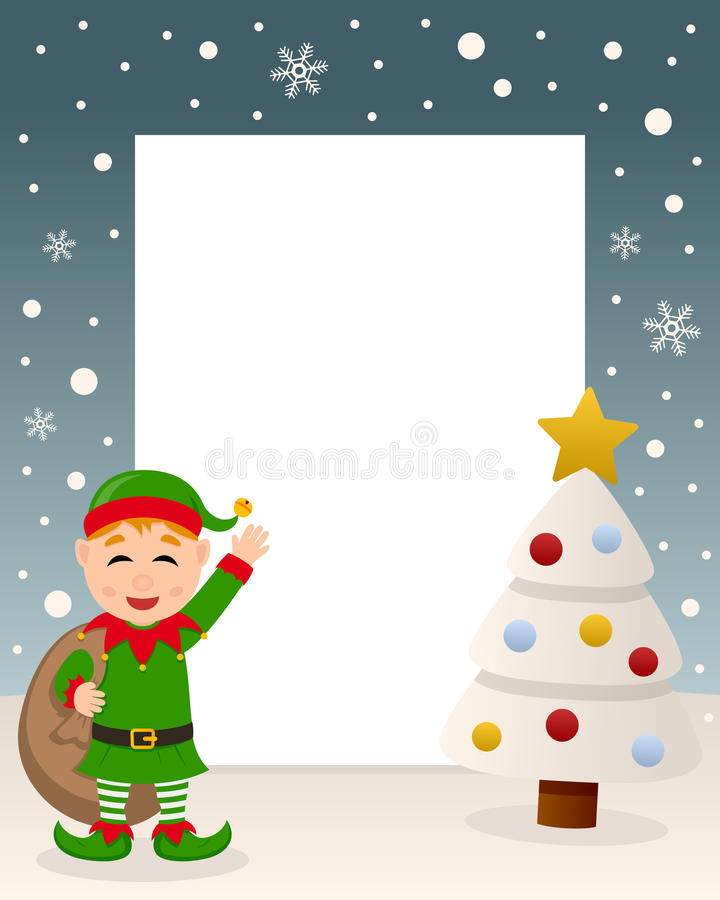 Christmas White Tree - Cute Green Elf royalty free stock image