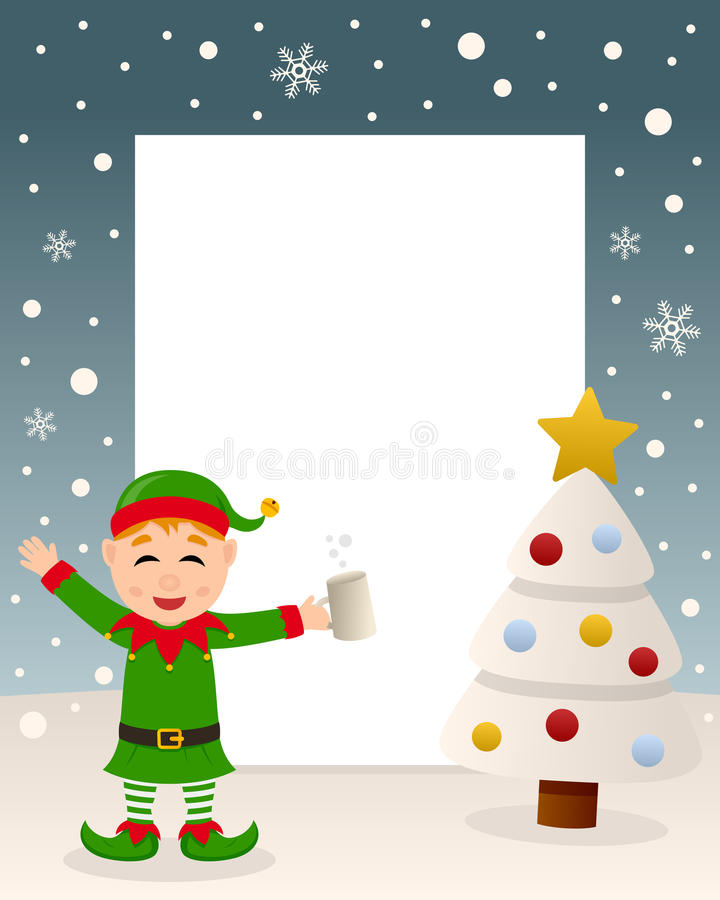 Christmas White Tree - Drunk Green Elf royalty free stock image