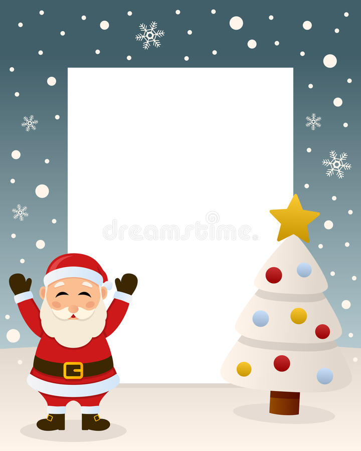 Christmas White Tree Frame - Santa Claus royalty free stock photo