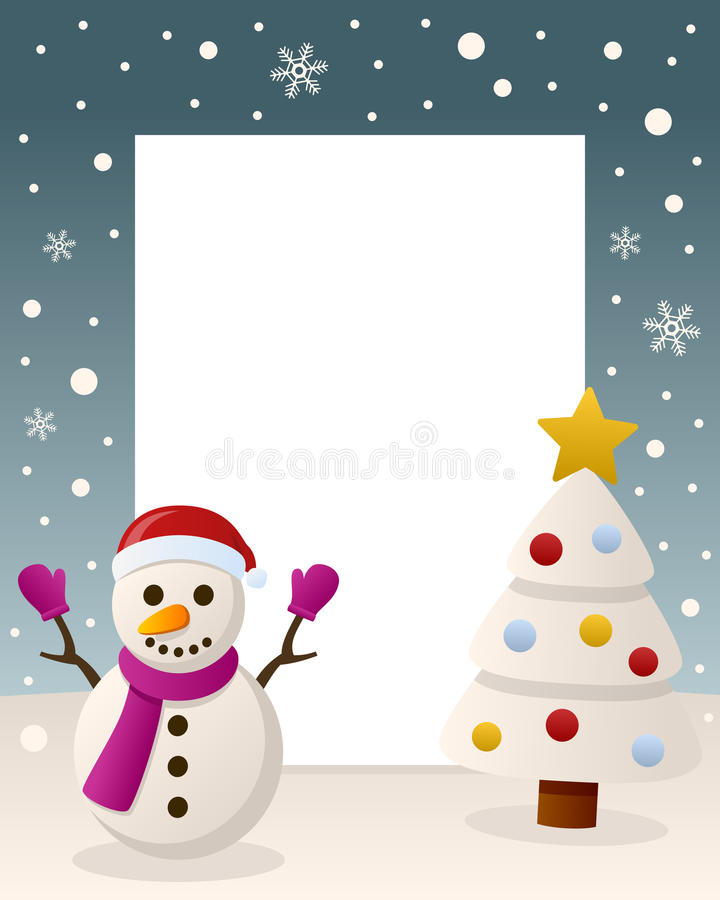 Christmas White Tree Frame - Snowman royalty free stock images