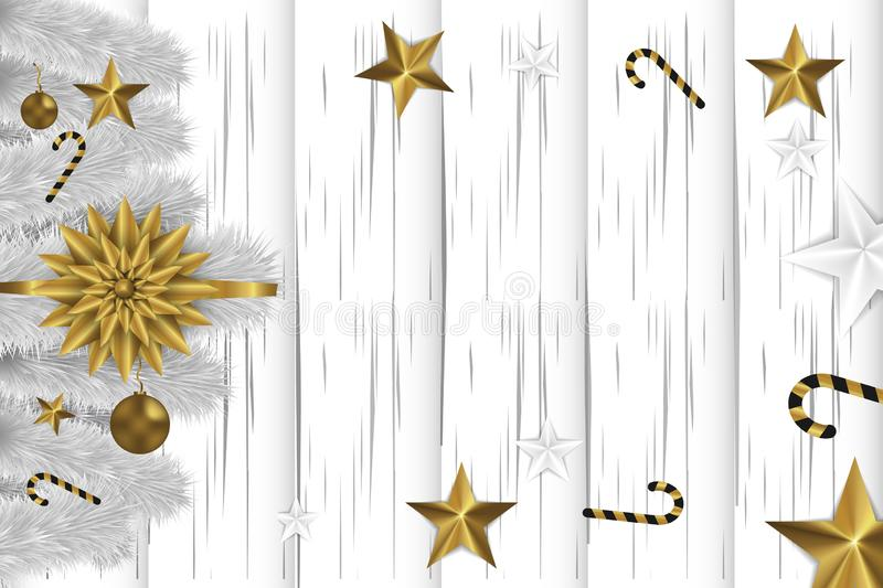 Christmas white wooden background. with fir branch, golden toys, stars and candy. Copy space . Happy new year.  stock illustration