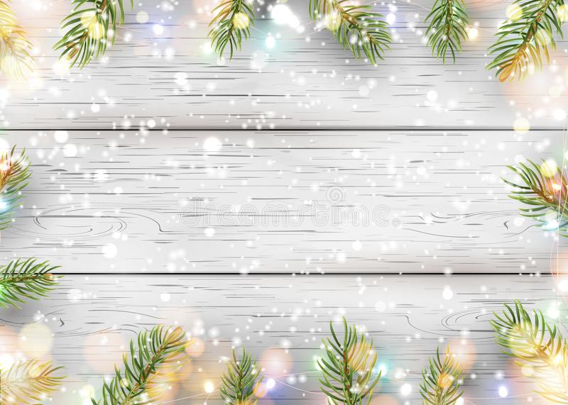 Christmas white wooden background with holiday fir tree branches, pine cone, light garland, bokeh, falling shiny snow. Flat lay, Top view with copy space for vector illustration