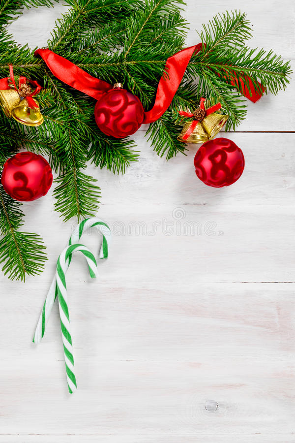 Christmas white wooden background top view royalty free stock photography