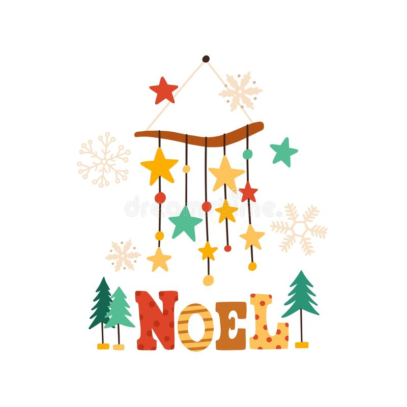 Christmas wind chimes flat vector illustration. Winter season symbol and Noel typography composition. Xmas tree toy with vector illustration