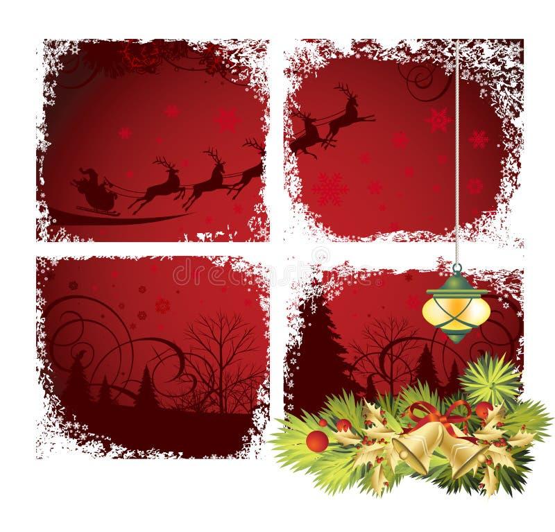 Christmas window vector illustration