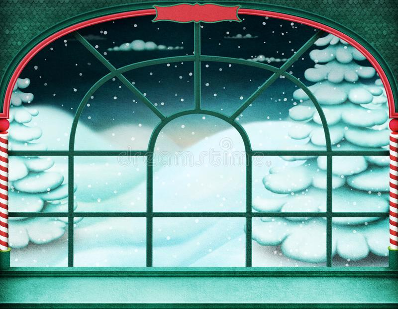 Christmas window  background royalty free illustration