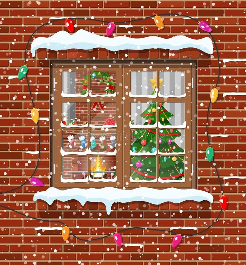 Christmas window in brick wall. stock illustration
