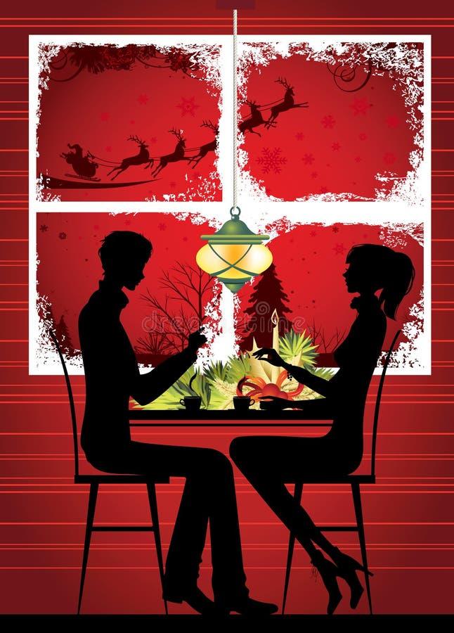 Christmas window and Christmas dinner. vector illustration