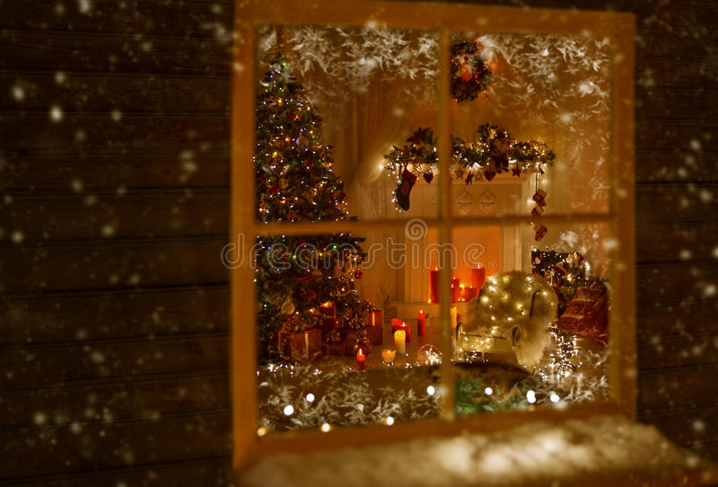 Christmas Window Holiday Home Lights, Room Decorated Xmas Tree stock image