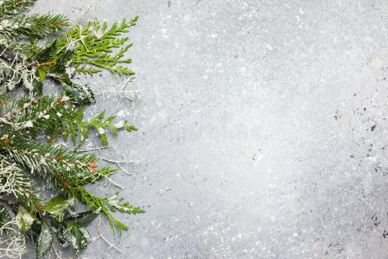 Christmas or winter background with a border of green and frosted evergreen branches and pine cones on a grey vintage board. Flat. Christmas or winter background stock images