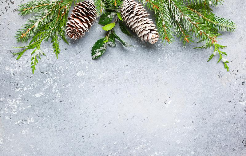 Christmas or winter background with a border of green and frosted evergreen branches and pine cones on a grey vintage board. Flat. Lay, winter concept with copy stock photography
