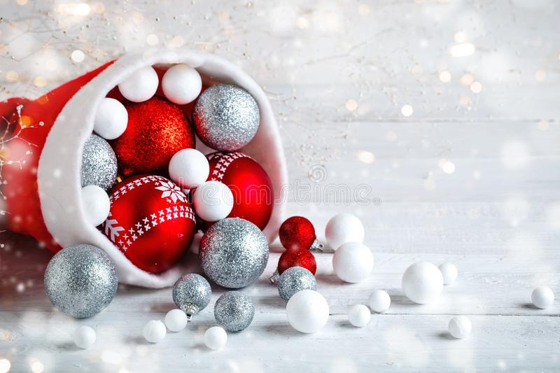 Christmas winter background. New Year`s toys. Happy New Year and Merry Christmas. Christmas winter background, New Year`s toys. Happy New Year and Merry royalty free stock photography