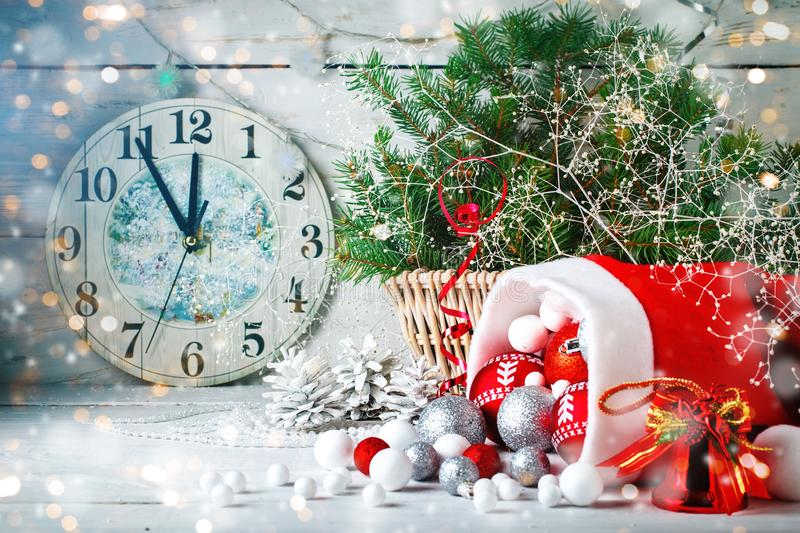 Christmas winter background. New Year`s toys. Happy New Year and Merry Christmas. Christmas winter background, New Year`s toys. Happy New Year and Merry stock photography