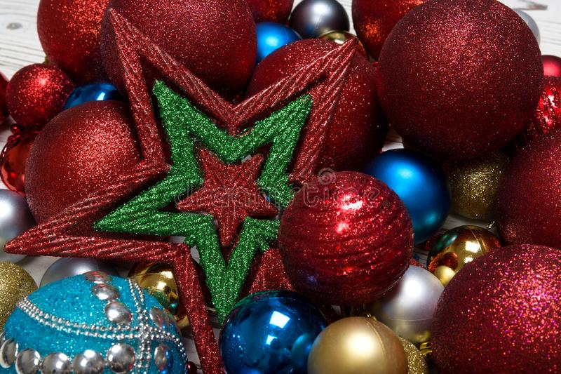 Christmas winter background with new year toy ball or baubles closeup royalty free stock images