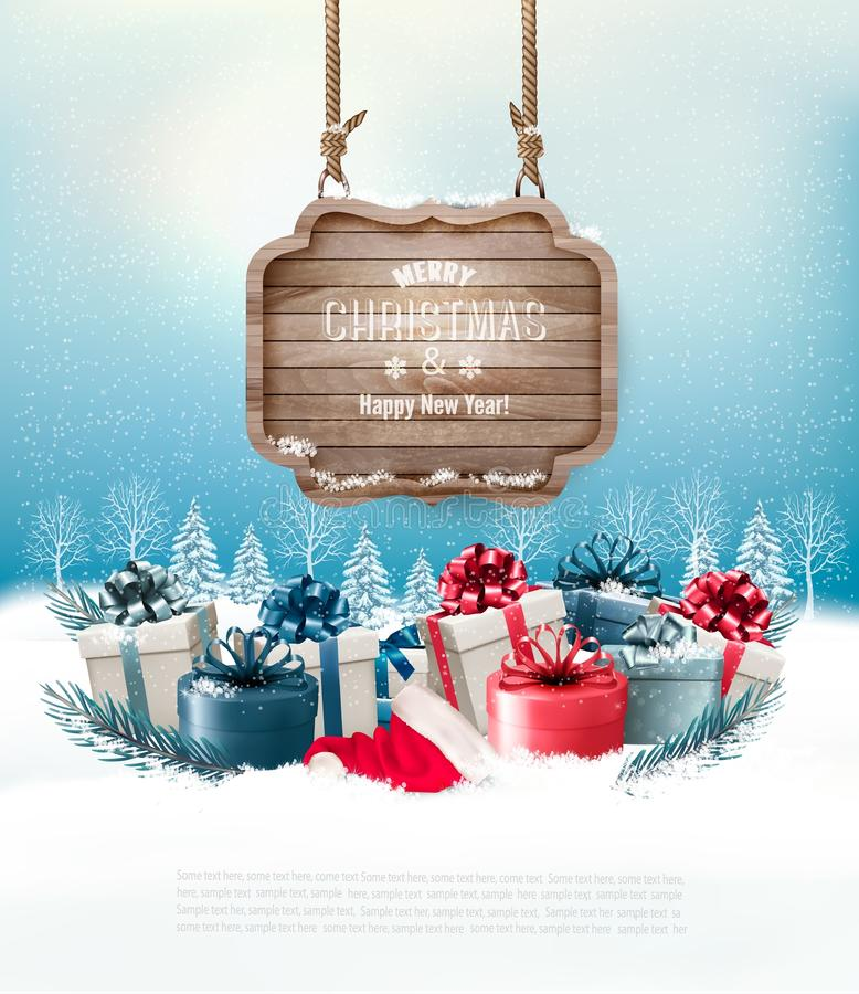 Christmas winter background with presents and wooden board. Vector stock illustration