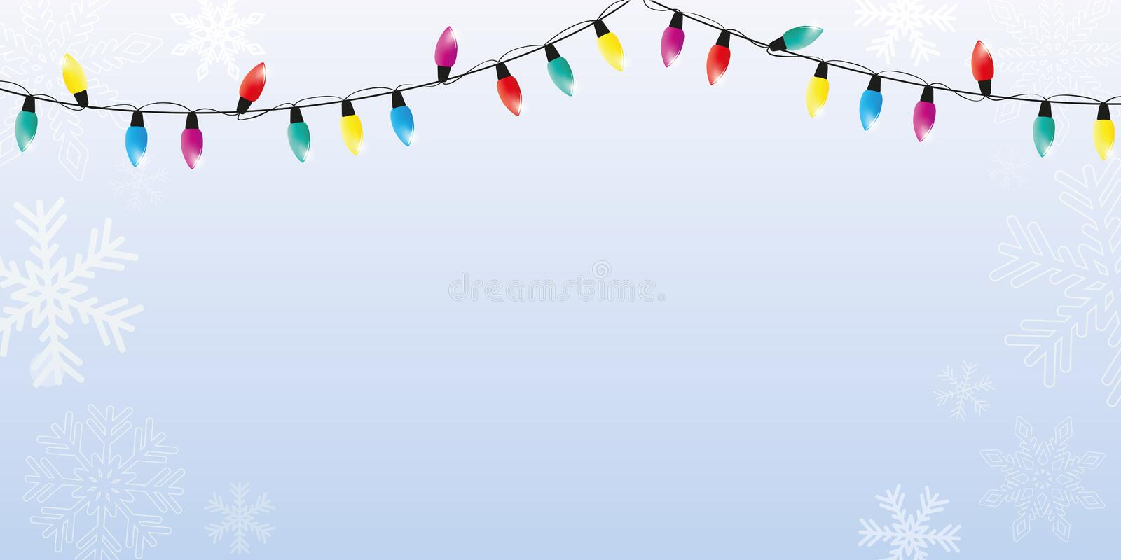 Christmas winter background with snowflakes and colorful fairy lights vector illustration