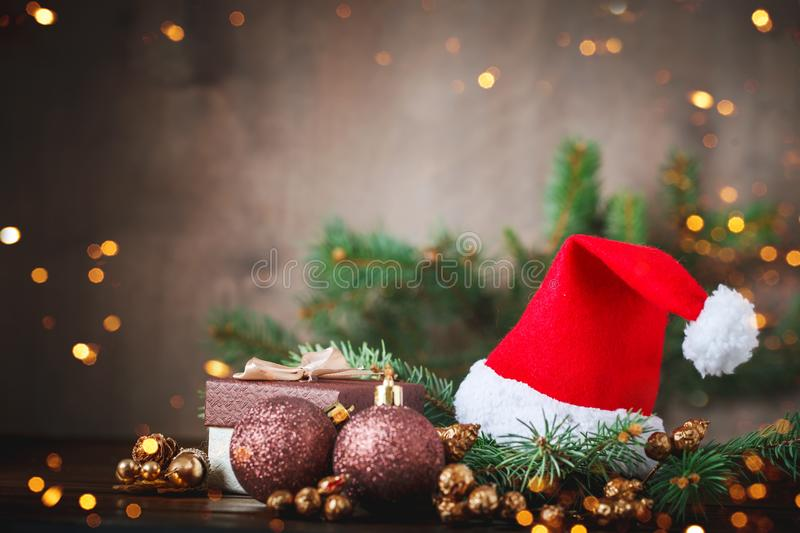 Christmas winter background, a table decorated with fir branches and decorations. Happy New Year. Merry Christmas. Christmas winter background, a table royalty free stock photos
