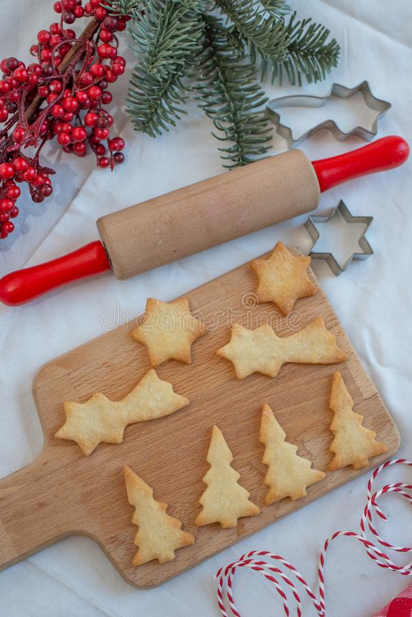 Christmas winter baking concept, ingredients for making cookies royalty free stock images