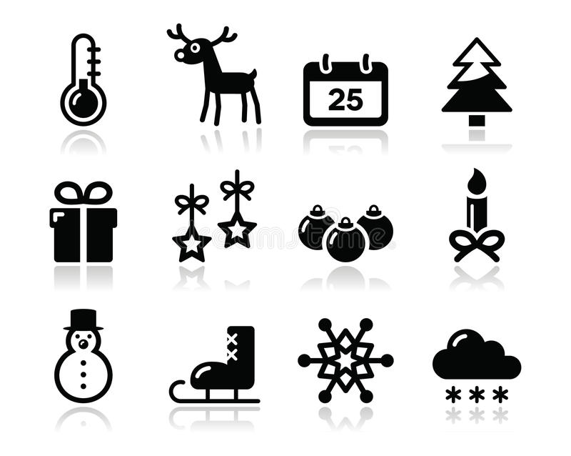 Download Christmas Winter Black Icons Set Stock Images - Image: 27425614
