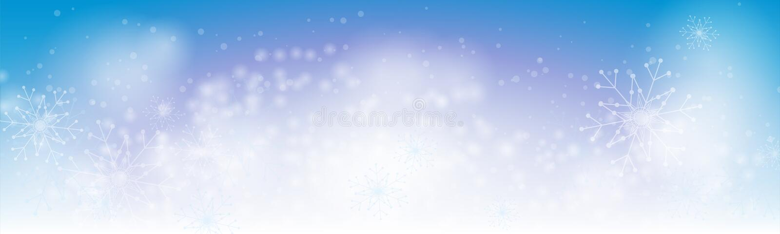 Christmas winter blue banner background with abstract snowflakes royalty free illustration