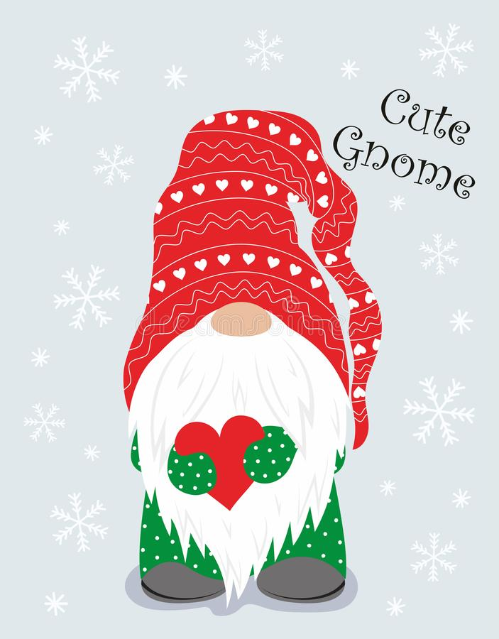Free Christmas Winter Card With Cute Gnome Stock Photos - 165046673