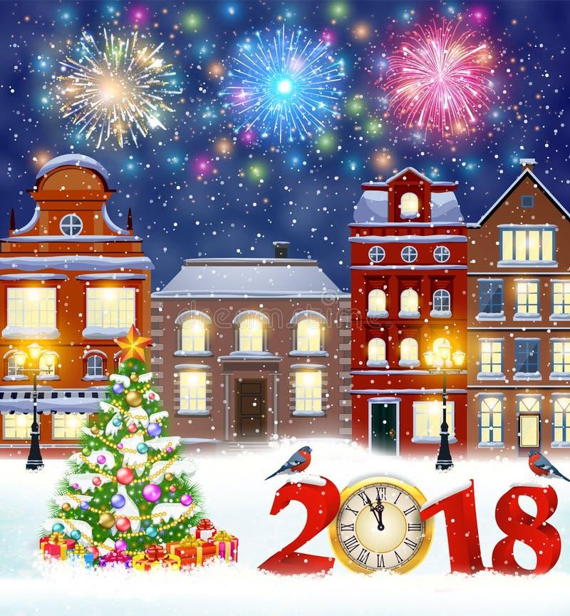 Christmas winter city street vector illustration