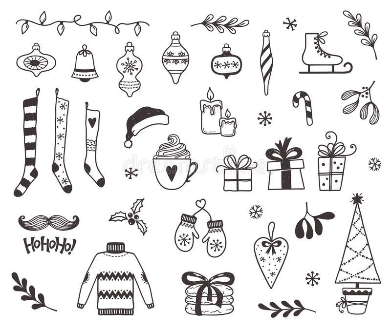 Christmas and winter doodles stock photo
