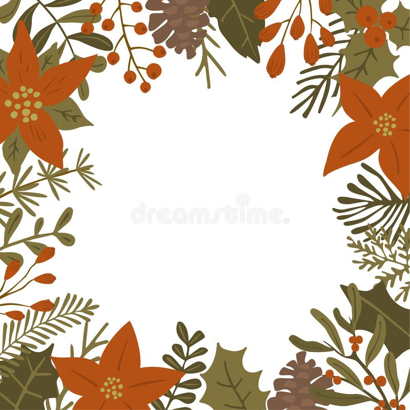 Christmas winter foliage plants, poinsettia flowers leaves branches, red berries and pine cones square frame template, isolated v stock illustration