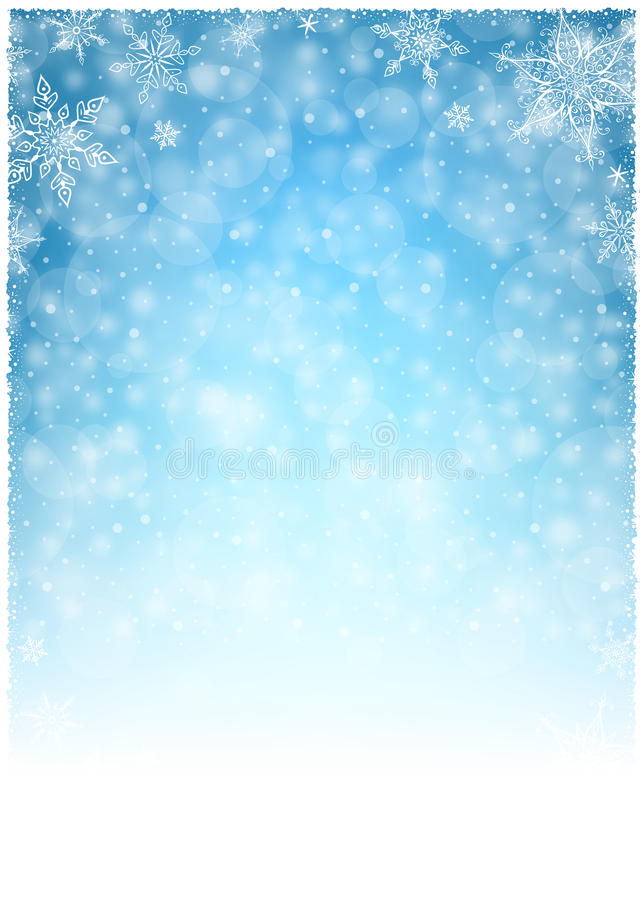 Christmas Winter Frame - Illustration. Christmas White Blue - Empty Background Portrait vector illustration