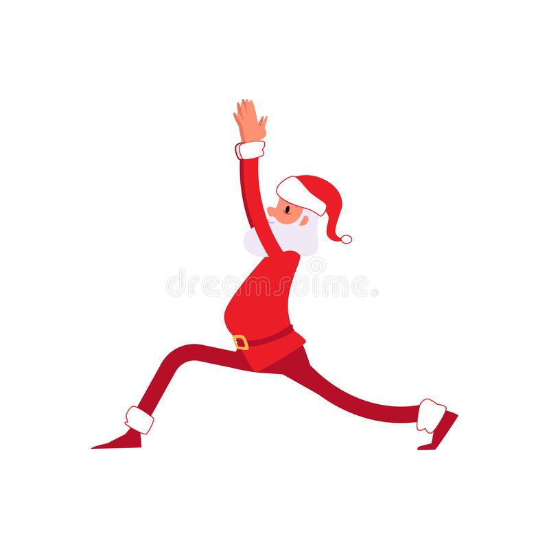 Christmas Santa stands in the yoga pose the flat vector illustration isolated. royalty free illustration