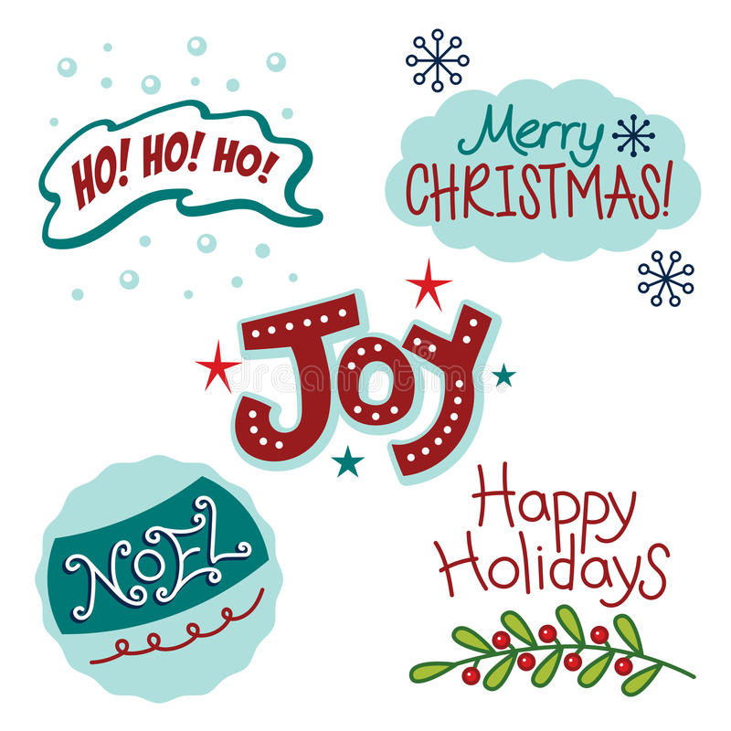 Christmas and winter holiday greetings, fun text, words. This is a fun and cheery collection of Christmas and winter holiday greetings. The text or words include stock illustration