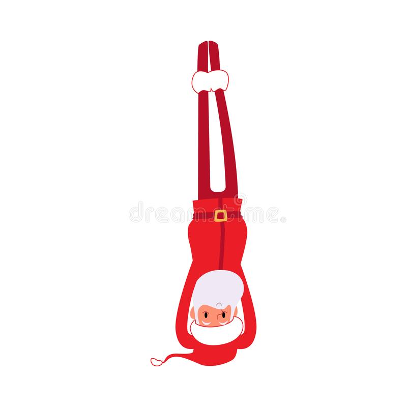 Christmas Santa stands in the yoga pose the flat vector illustration isolated. stock illustration