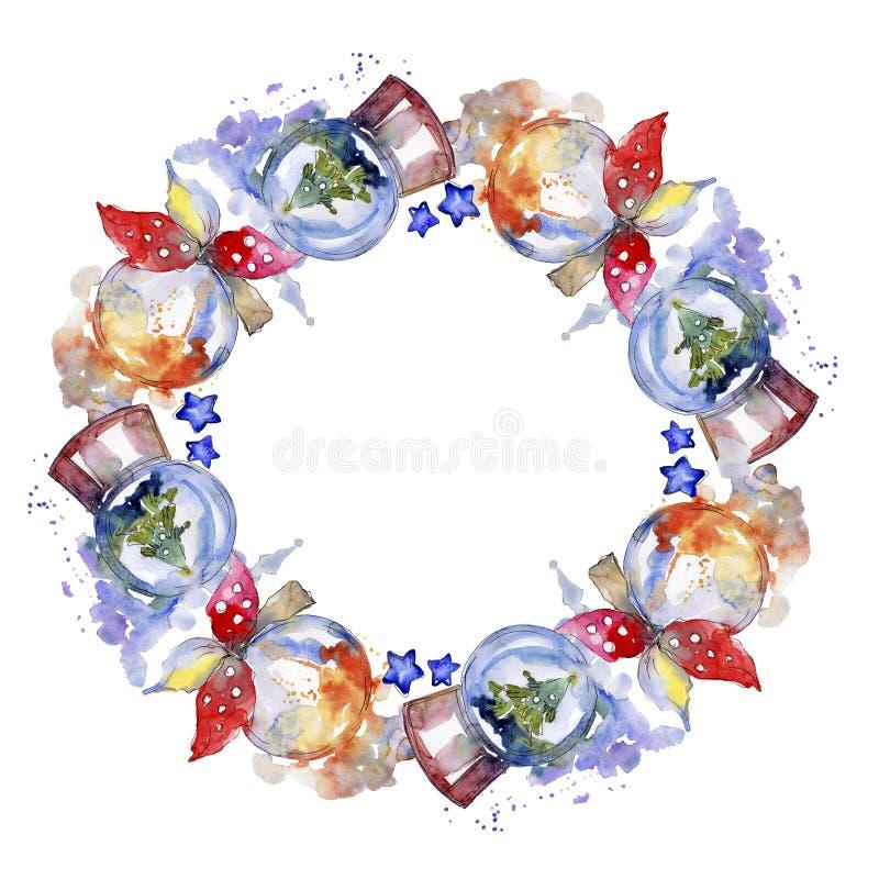 Christmas winter holiday symbol isolated. Watercolor background illustration set. Frame border ornament square. Christmas winter holiday symbol isolated stock illustration