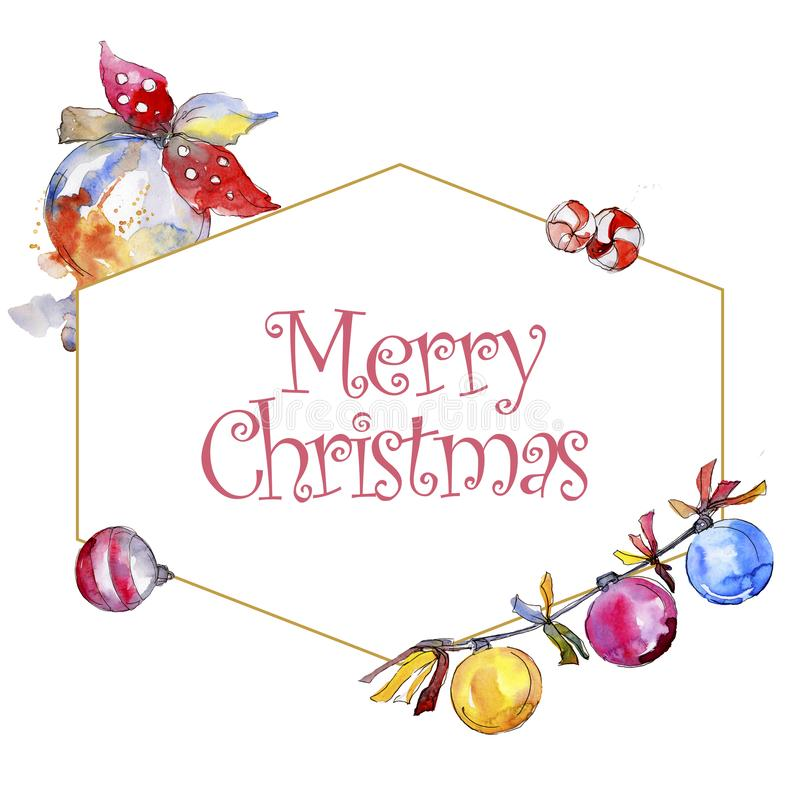 Christmas winter holiday symbol isolated. Watercolor background illustration set. Frame border ornament square. Christmas winter holiday symbol isolated vector illustration