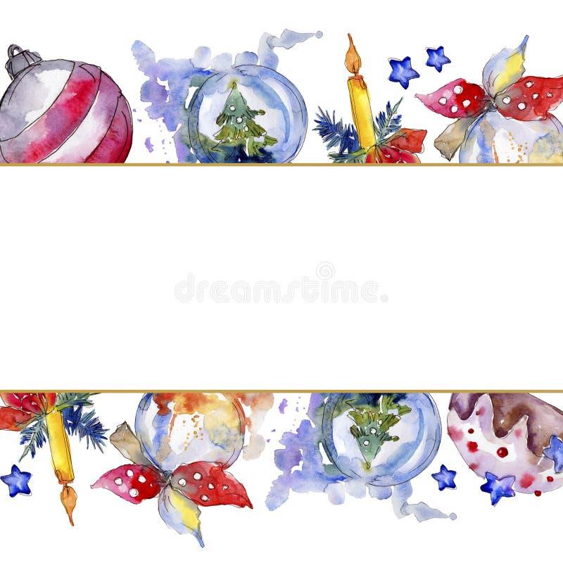 Christmas winter holiday symbol isolated. Watercolor background illustration set. Frame border ornament square. Christmas winter holiday symbol isolated royalty free illustration