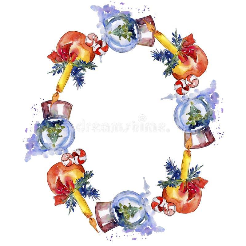 Christmas winter holiday symbol isolated. Watercolor background illustration set. Frame border ornament square. Christmas winter holiday symbol isolated stock photos
