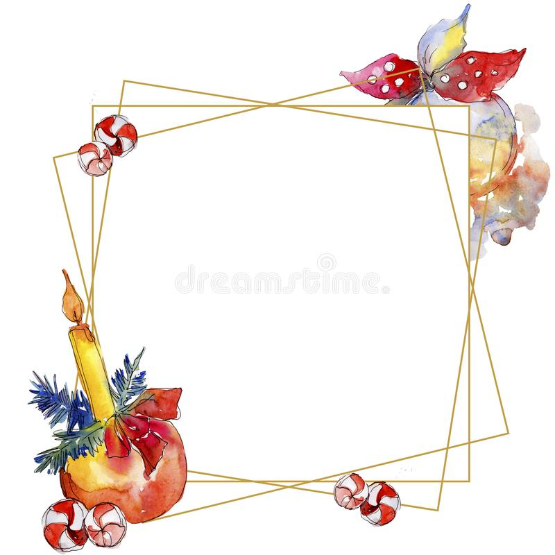 Christmas winter holiday symbol isolated. Watercolor background illustration set. Frame border ornament square. Christmas winter holiday symbol isolated stock images