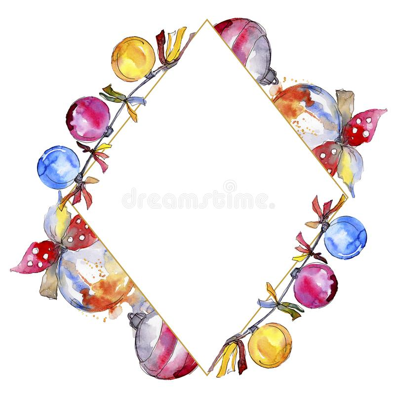 Christmas winter holiday symbol isolated. Watercolor background illustration set. Frame border ornament square. Christmas winter holiday symbol isolated royalty free stock photo