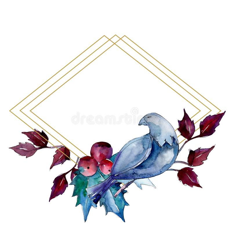 Christmas winter holiday symbol isolated. Watercolor background illustration set. Frame border ornament square. Christmas winter holiday symbol isolated. 2020 stock illustration