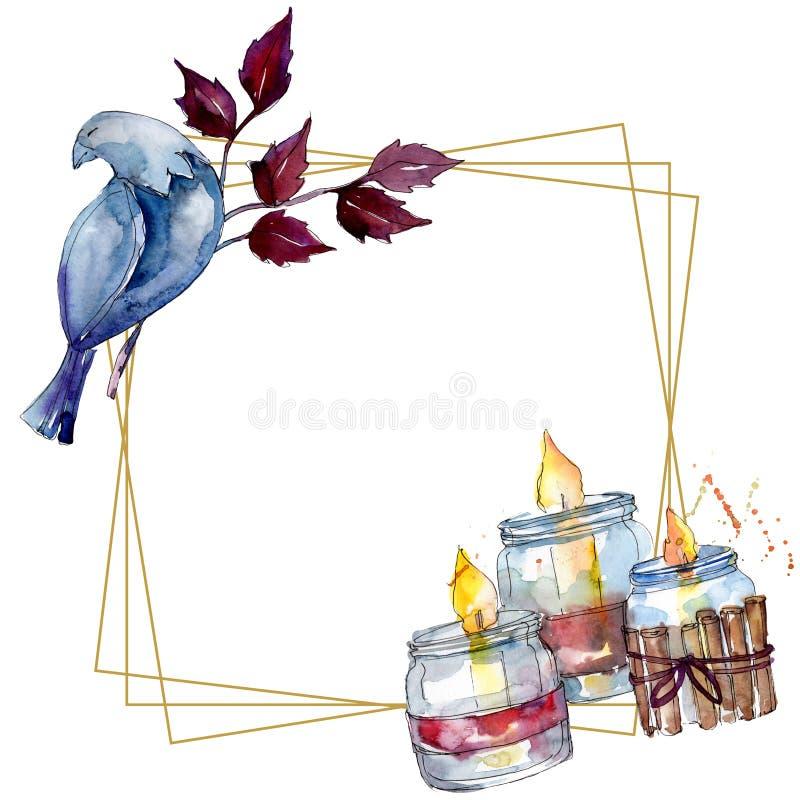 Christmas winter holiday symbol isolated. Watercolor background illustration set. Frame border ornament square. Christmas winter holiday symbol isolated. 2020 royalty free illustration